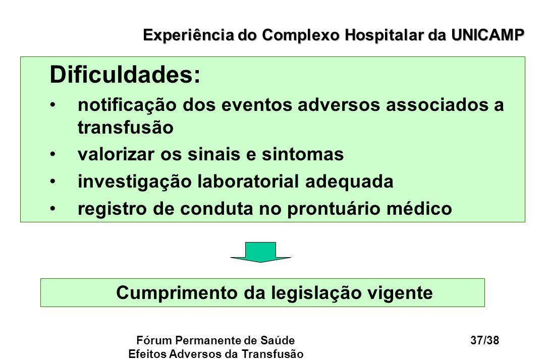 Fórum Permanente de Saúde Efeitos Adversos da Transfusão 37/38 Experiência do Complexo Hospitalar da UNICAMP Dificuldades: notificação dos eventos adv