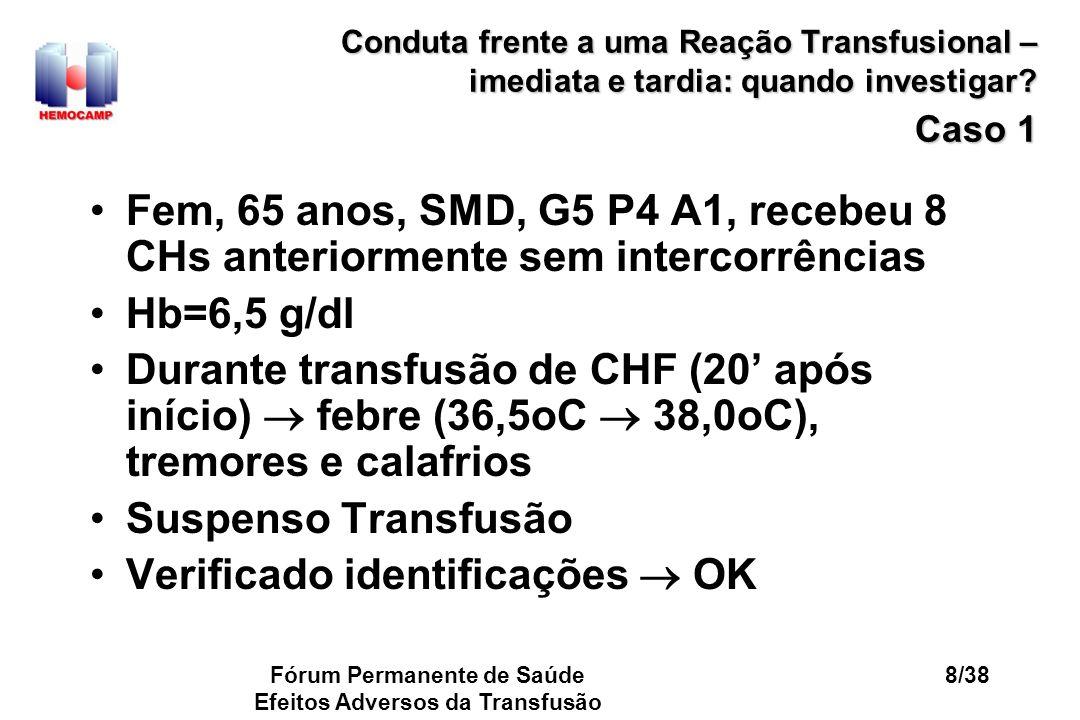Fórum Permanente de Saúde Efeitos Adversos da Transfusão 8/38 Conduta frente a uma Reação Transfusional – imediata e tardia: quando investigar? Caso 1