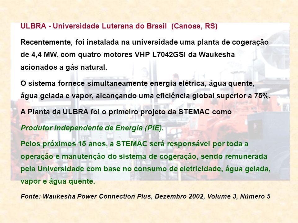 ULBRA - Universidade Luterana do Brasil (Canoas, RS) Recentemente, foi instalada na universidade uma planta de cogeração de 4,4 MW, com quatro motores