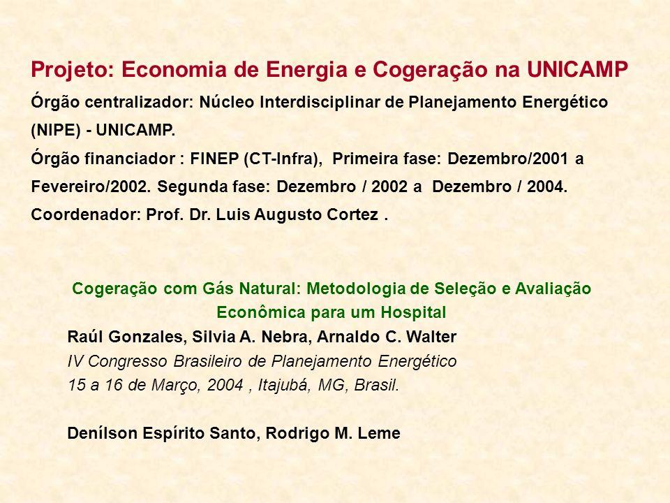 Projeto: Economia de Energia e Cogeração na UNICAMP Órgão centralizador: Núcleo Interdisciplinar de Planejamento Energético (NIPE) - UNICAMP. Órgão fi