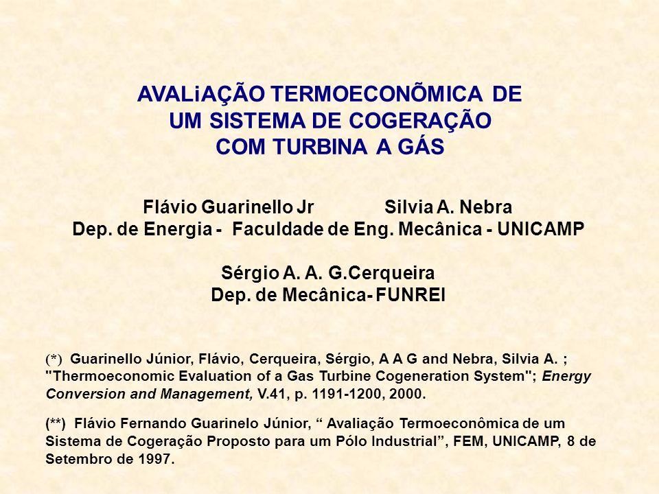AVALiAÇÃO TERMOECONÕMICA DE UM SISTEMA DE COGERAÇÃO COM TURBINA A GÁS Flávio Guarinello Jr Silvia A. Nebra Dep. de Energia - Faculdade de Eng. Mecânic