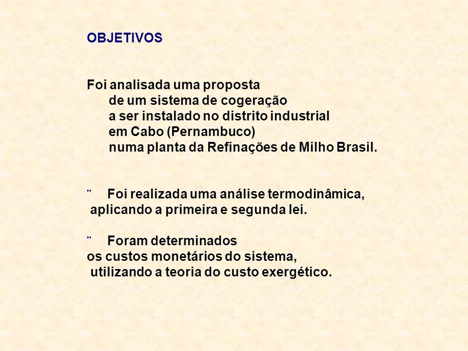 OBJETIVOS Foi analisada uma proposta de um sistema de cogeração a ser instalado no distrito industrial em Cabo (Pernambuco) numa planta da Refinações