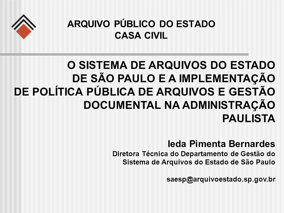 O SISTEMA DE ARQUIVOS DO ESTADO DE SÃO PAULO E A IMPLEMENTAÇÃO DE POLÍTICA PÚBLICA DE ARQUIVOS E GESTÃO DOCUMENTAL NA ADMINISTRAÇÃO PAULISTA Ieda Pime