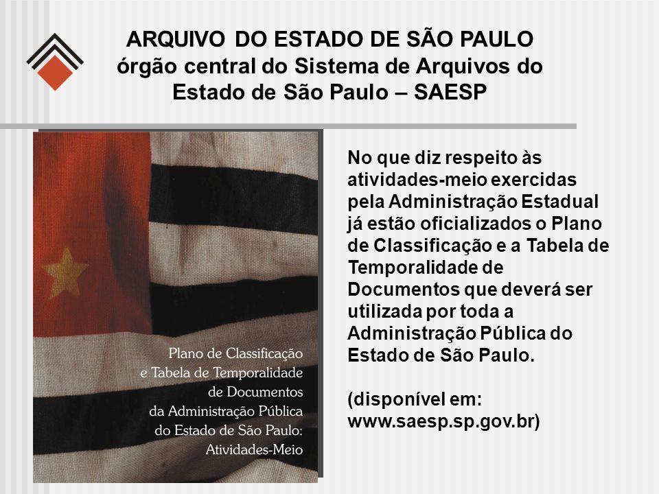 ARQUIVO DO ESTADO DE SÃO PAULO órgão central do Sistema de Arquivos do Estado de São Paulo – SAESP No que diz respeito às atividades-meio exercidas pe