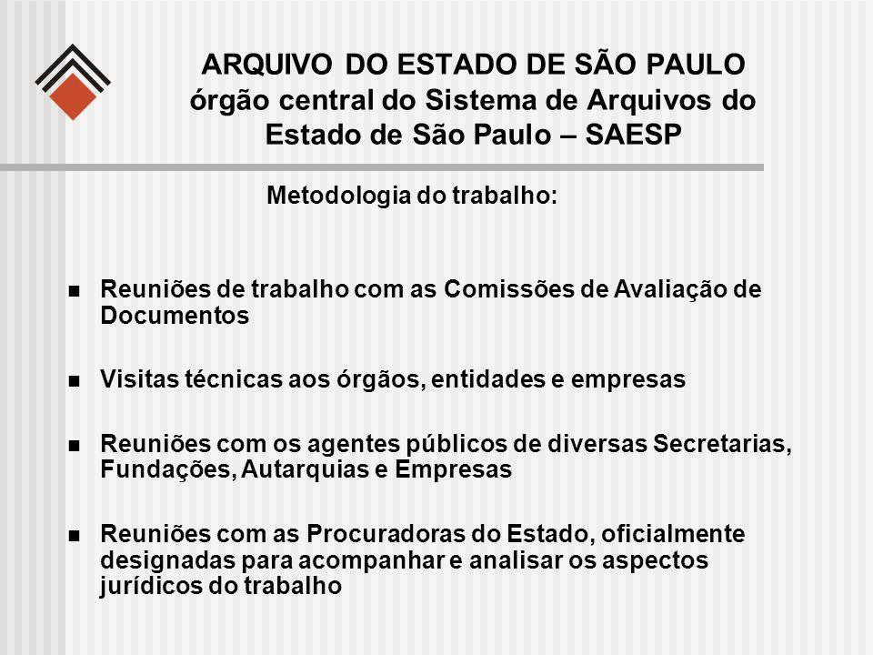 ARQUIVO DO ESTADO DE SÃO PAULO órgão central do Sistema de Arquivos do Estado de São Paulo – SAESP Metodologia do trabalho: Reuniões de trabalho com a