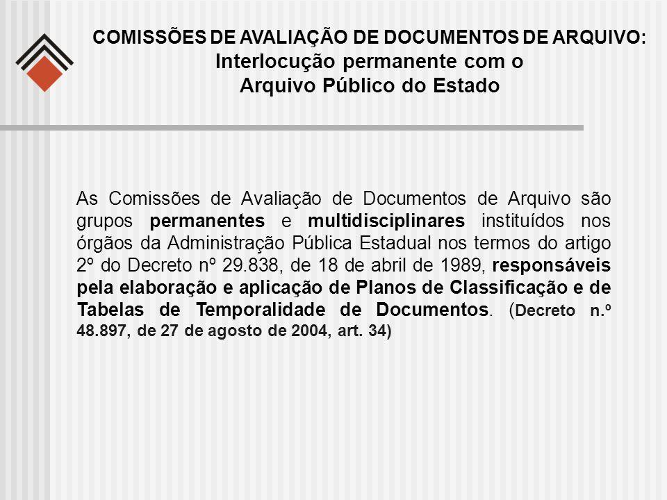As Comissões de Avaliação de Documentos de Arquivo são grupos permanentes e multidisciplinares instituídos nos órgãos da Administração Pública Estadua