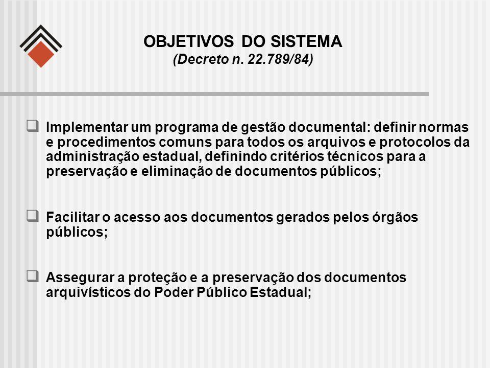 OBJETIVOS DO SISTEMA (Decreto n. 22.789/84) Implementar um programa de gestão documental: definir normas e procedimentos comuns para todos os arquivos