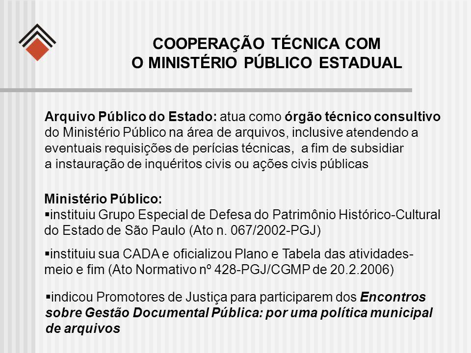 Ministério Público: instituiu Grupo Especial de Defesa do Patrimônio Histórico-Cultural do Estado de São Paulo (Ato n. 067/2002-PGJ) COOPERAÇÃO TÉCNIC