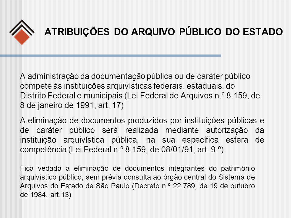 ATRIBUIÇÕES DO ARQUIVO PÚBLICO DO ESTADO A administração da documentação pública ou de caráter público compete às instituições arquivísticas federais,