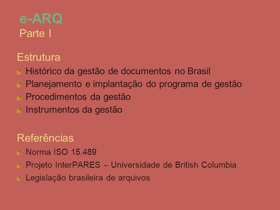 Estrutura Histórico da gestão de documentos no Brasil Planejamento e implantação do programa de gestão Procedimentos da gestão Instrumentos da gestão