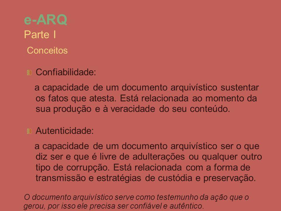 Conceitos Confiabilidade: a capacidade de um documento arquivístico sustentar os fatos que atesta. Está relacionada ao momento da sua produção e à ver
