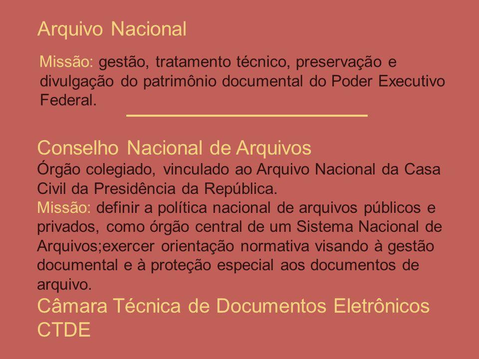 Arquivo Nacional Missão: gestão, tratamento técnico, preservação e divulgação do patrimônio documental do Poder Executivo Federal. Conselho Nacional d