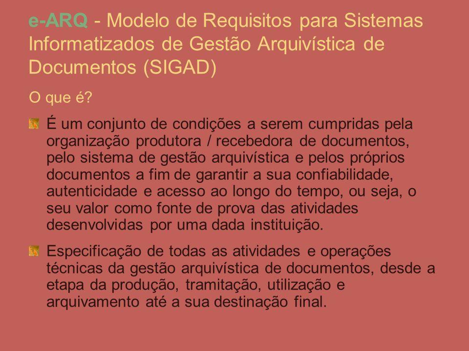 e-ARQ - Modelo de Requisitos para Sistemas Informatizados de Gestão Arquivística de Documentos (SIGAD) O que é? É um conjunto de condições a serem cum