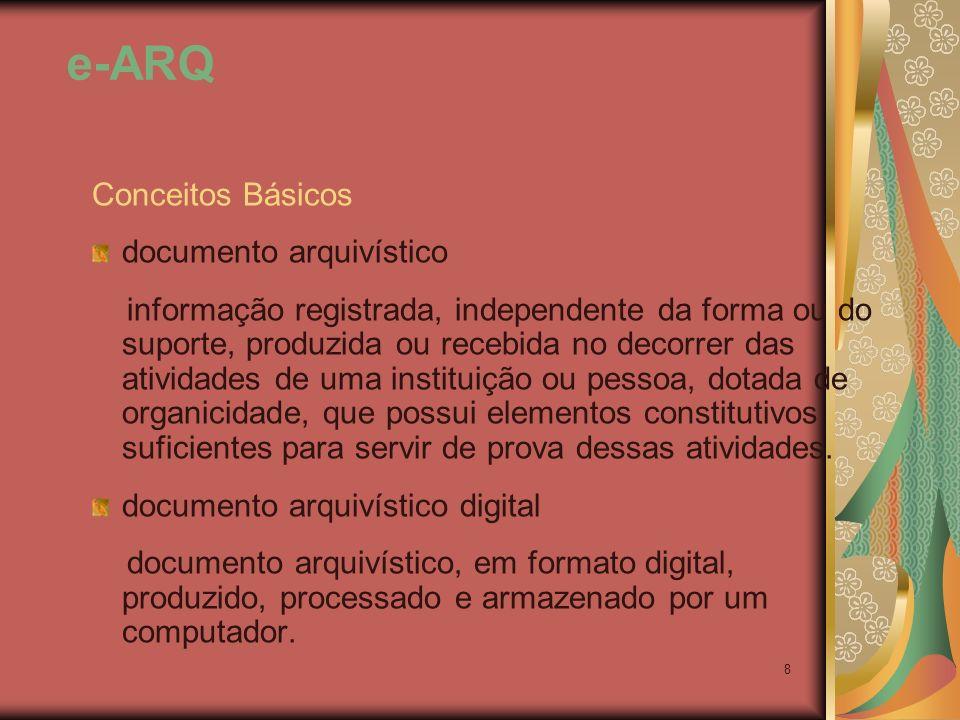 8 Conceitos Básicos documento arquivístico informação registrada, independente da forma ou do suporte, produzida ou recebida no decorrer das atividade