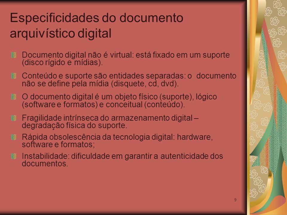9 Especificidades do documento arquivístico digital Documento digital não é virtual: está fixado em um suporte (disco rígido e mídias). Conteúdo e sup