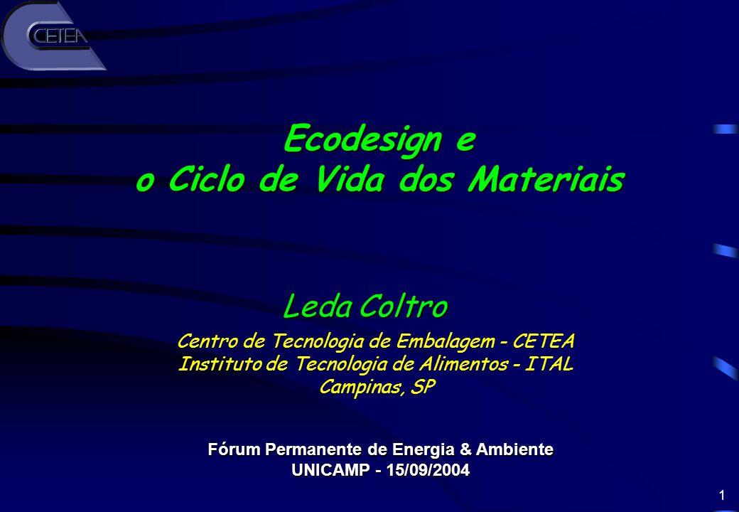 1 Centro de Tecnologia de Embalagem - CETEA Instituto de Tecnologia de Alimentos - ITAL Campinas, SP Leda Coltro Fórum Permanente de Energia & Ambient