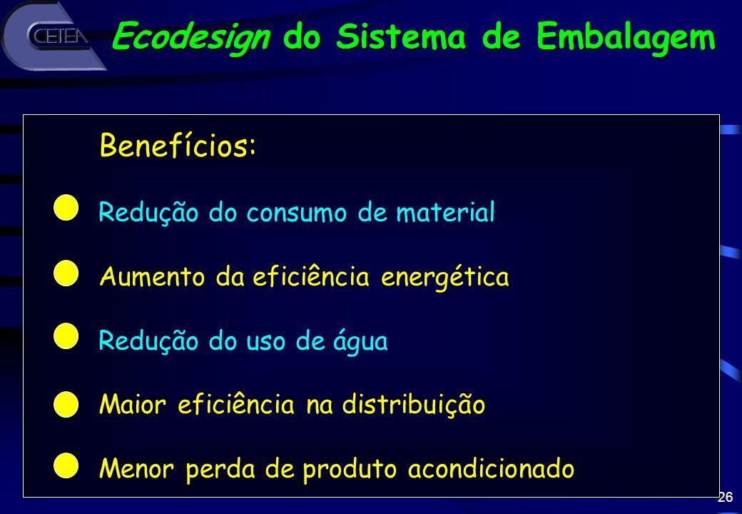 26 Benefícios: Redução do consumo de material Aumento da eficiência energética Redução do uso de água Maior eficiência na distribuição Menor perda de