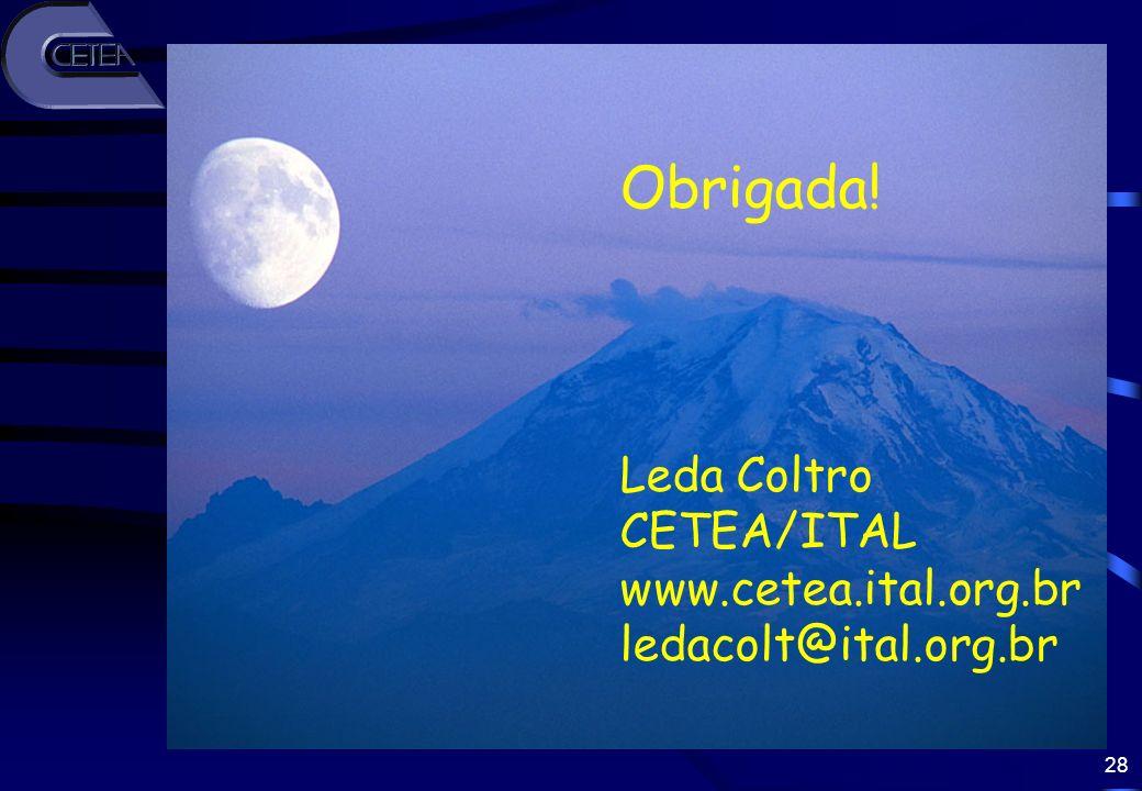 28 Obrigada! Leda Coltro CETEA/ITAL www.cetea.ital.org.br ledacolt@ital.org.br