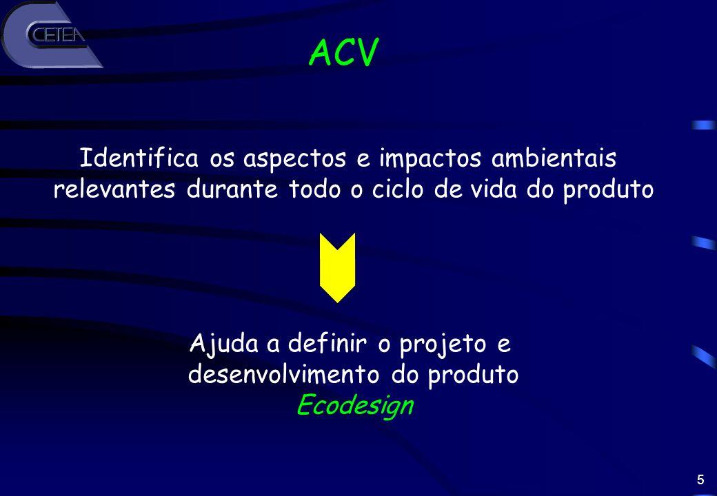 5 ACV Identifica os aspectos e impactos ambientais relevantes durante todo o ciclo de vida do produto Ajuda a definir o projeto e desenvolvimento do p