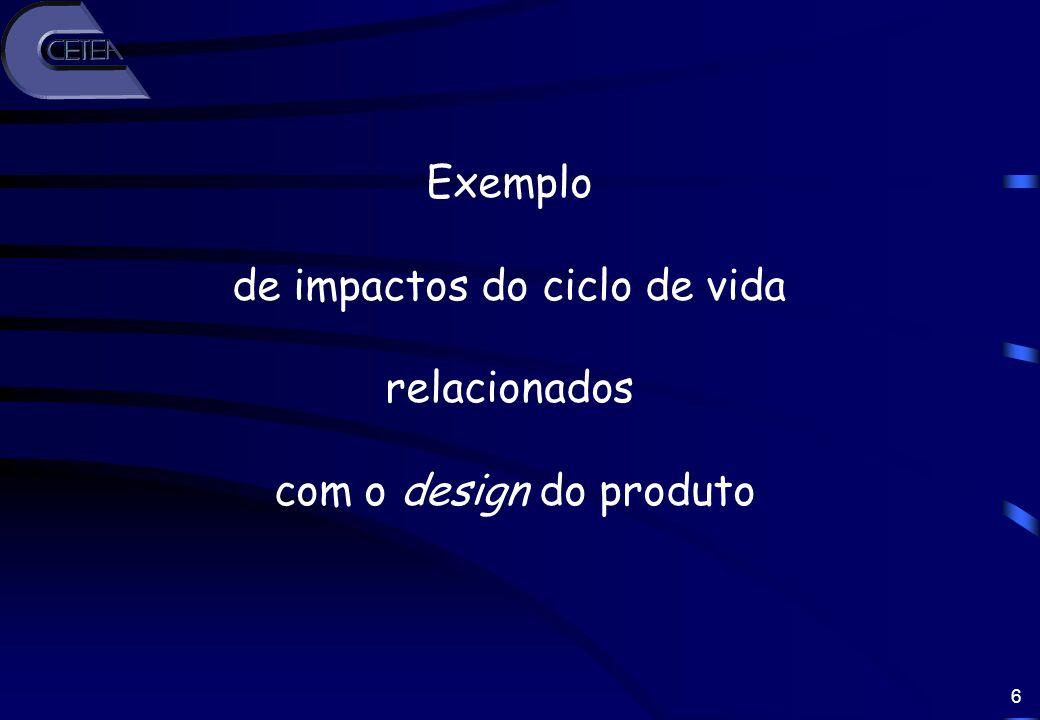 6 Exemplo de impactos do ciclo de vida relacionados com o design do produto