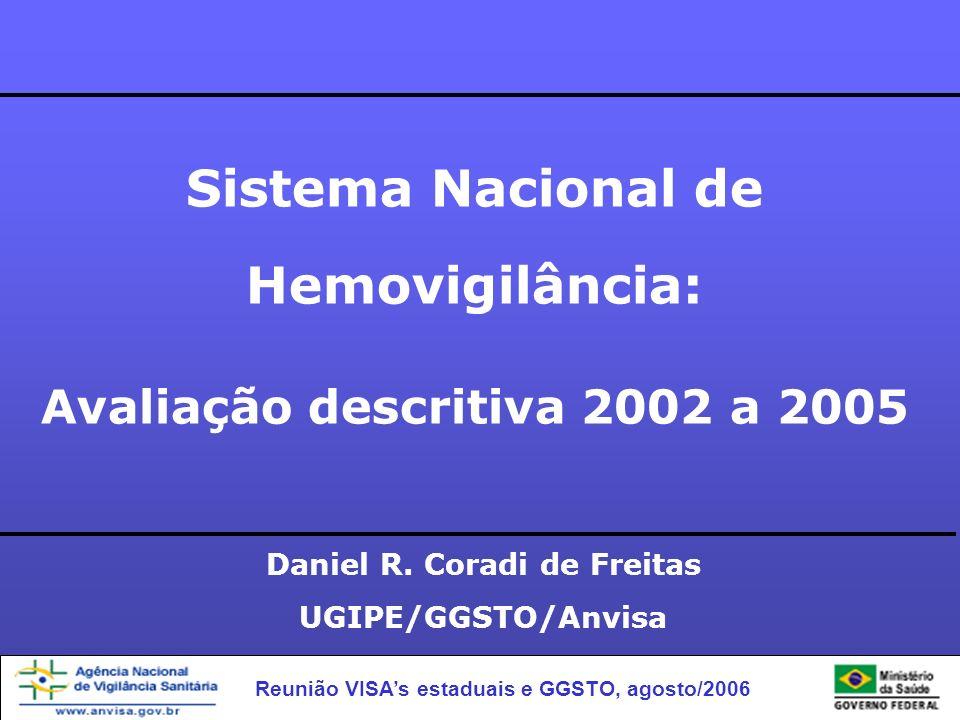 Reunião VISAs estaduais e GGSTO, agosto/2006 Sistema Nacional de Hemovigilância: Avaliação descritiva 2002 a 2005 Daniel R. Coradi de Freitas UGIPE/GG