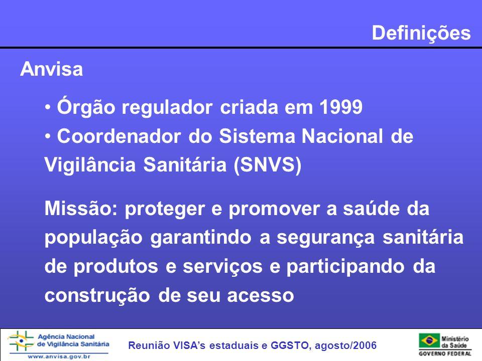 Reunião VISAs estaduais e GGSTO, agosto/2006 Definições Anvisa Órgão regulador criada em 1999 Coordenador do Sistema Nacional de Vigilância Sanitária
