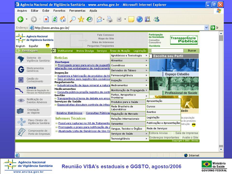 Reunião VISAs estaduais e GGSTO, agosto/2006