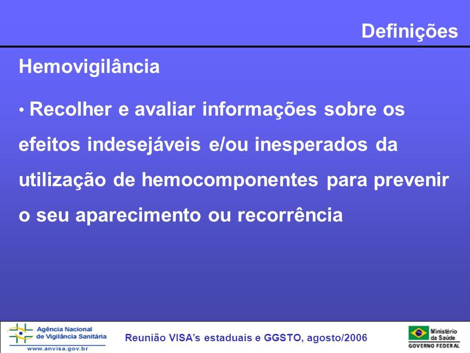 Definições Hemovigilância Recolher e avaliar informações sobre os efeitos indesejáveis e/ou inesperados da utilização de hemocomponentes para prevenir