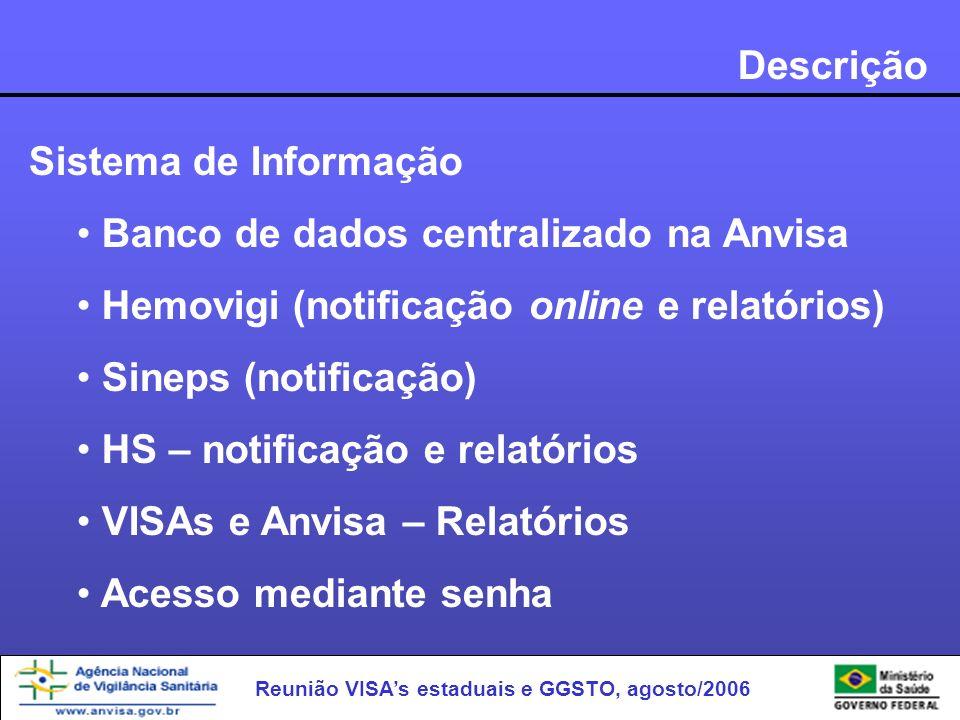 Reunião VISAs estaduais e GGSTO, agosto/2006 Descrição Sistema de Informação Banco de dados centralizado na Anvisa Hemovigi (notificação online e rela