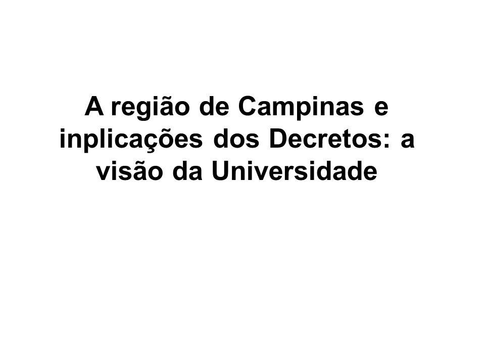 A região de Campinas e inplicações dos Decretos: a visão da Universidade
