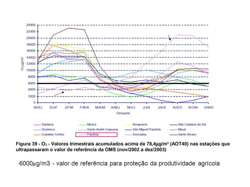 6000 g/m3 - valor de referência para proteção da produtividade agrícola