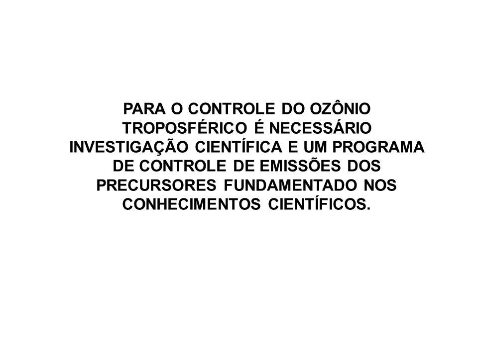 PARA O CONTROLE DO OZÔNIO TROPOSFÉRICO É NECESSÁRIO INVESTIGAÇÃO CIENTÍFICA E UM PROGRAMA DE CONTROLE DE EMISSÕES DOS PRECURSORES FUNDAMENTADO NOS CON