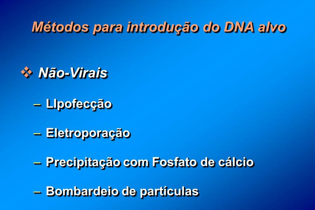 Métodos para introdução do DNA alvo Não-Virais Não-Virais – LIpofecção – Eletroporação – Precipitação com Fosfato de cálcio – Bombardeio de partículas Não-Virais Não-Virais – LIpofecção – Eletroporação – Precipitação com Fosfato de cálcio – Bombardeio de partículas