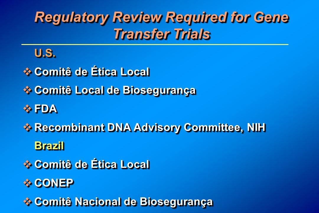 Regulatory Review Required for Gene Transfer Trials U.S. Comitê de Ética Local Comitê de Ética Local Comitê Local de Biosegurança Comitê Local de Bios