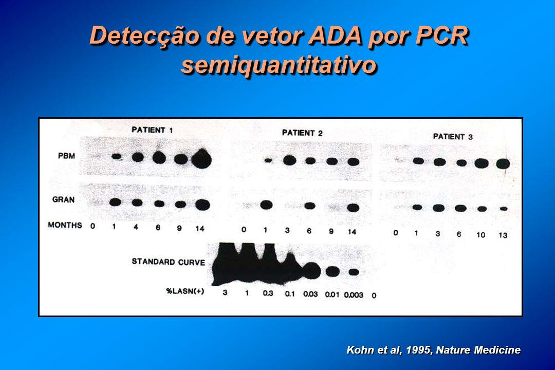 Detecção de vetor ADA por PCR semiquantitativo Kohn et al, 1995, Nature Medicine