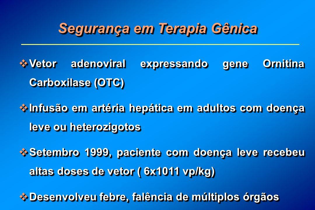 Segurança em Terapia Gênica Vetor adenoviral expressando gene Ornitina Carboxilase (OTC) Vetor adenoviral expressando gene Ornitina Carboxilase (OTC)