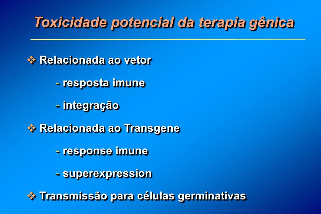Toxicidade potencial da terapia gênica Relacionada ao vetor Relacionada ao vetor - resposta imune - integração Relacionada ao Transgene Relacionada ao Transgene - response imune - superexpression Transmissão para células germinativas Transmissão para células germinativas Relacionada ao vetor Relacionada ao vetor - resposta imune - integração Relacionada ao Transgene Relacionada ao Transgene - response imune - superexpression Transmissão para células germinativas Transmissão para células germinativas