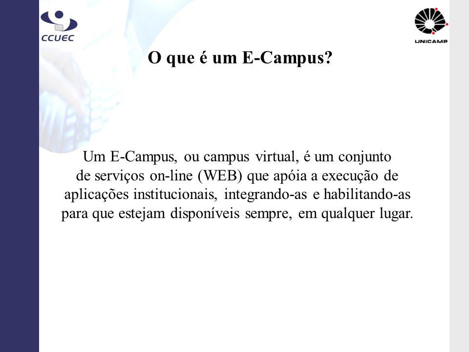 O que é um E-Campus? Um E-Campus, ou campus virtual, é um conjunto de serviços on-line (WEB) que apóia a execução de aplicações institucionais, integr