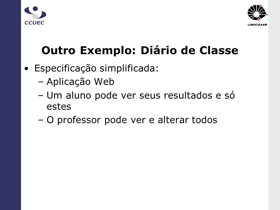 Outro Exemplo: Diário de Classe Especificação simplificada: –Aplicação Web –Um aluno pode ver seus resultados e só estes –O professor pode ver e alter
