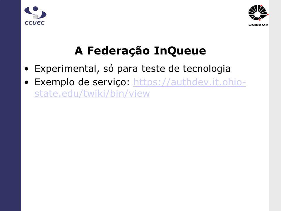 A Federação InQueue Experimental, só para teste de tecnologia Exemplo de serviço: https://authdev.it.ohio- state.edu/twiki/bin/viewhttps://authdev.it.