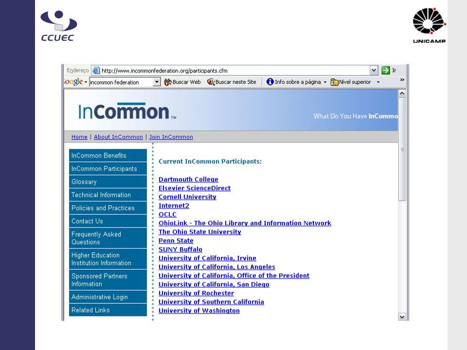InCommon: Participantes em 10/04/2005