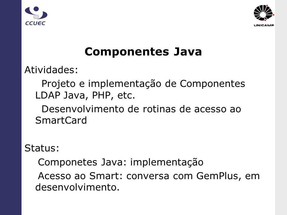 Componentes Java Atividades: Projeto e implementação de Componentes LDAP Java, PHP, etc. Desenvolvimento de rotinas de acesso ao SmartCard Status: Com