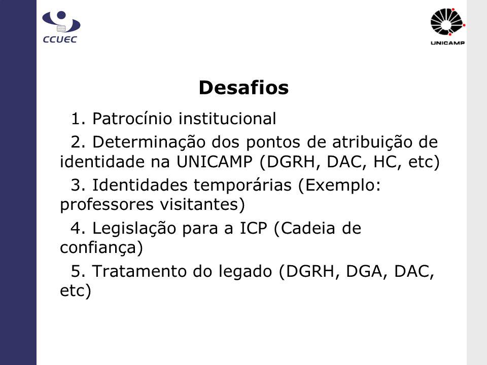 Desafios 1. Patrocínio institucional 2. Determinação dos pontos de atribuição de identidade na UNICAMP (DGRH, DAC, HC, etc) 3. Identidades temporárias