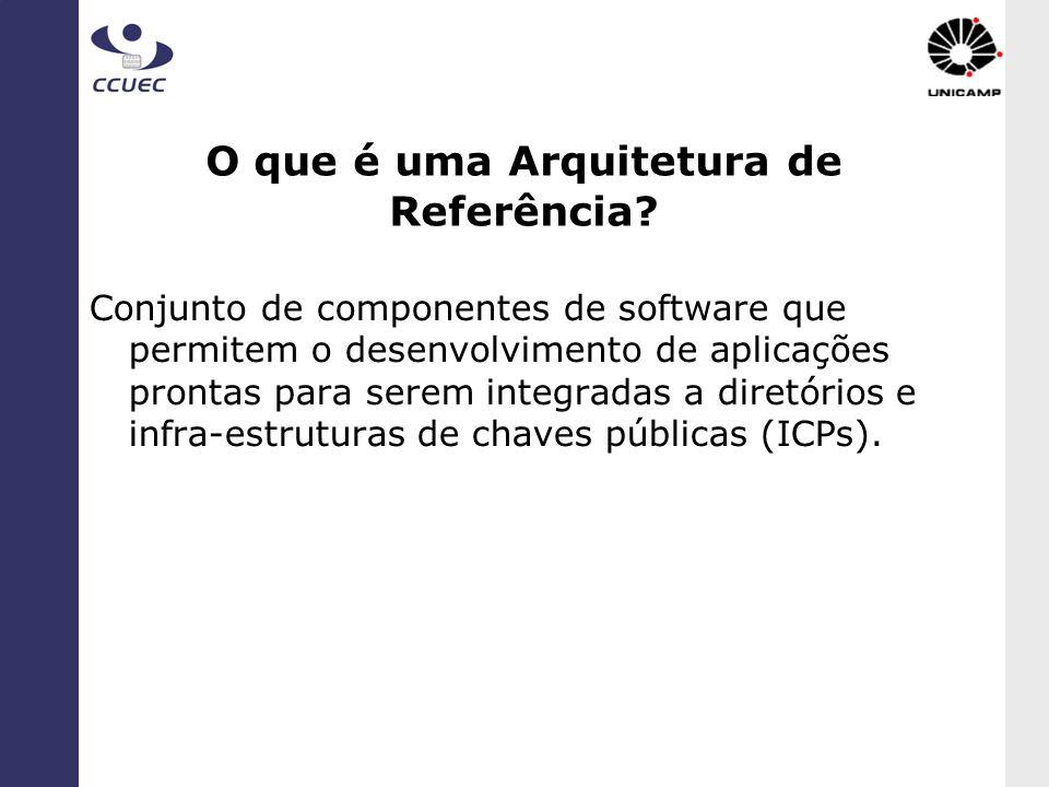 Características de uma AR Abrangência: permite a construção de aplicações distribuídas (web services) típicas da gestão universitária, integração; Facilita desenvolvimento de sw e compra de aplicações, Biblioteca de Componentes Java (UNICAMP); Open source, future-proof; Plataformas (hardware e software) de baixo custo, de prateleira (off-the-shelve).