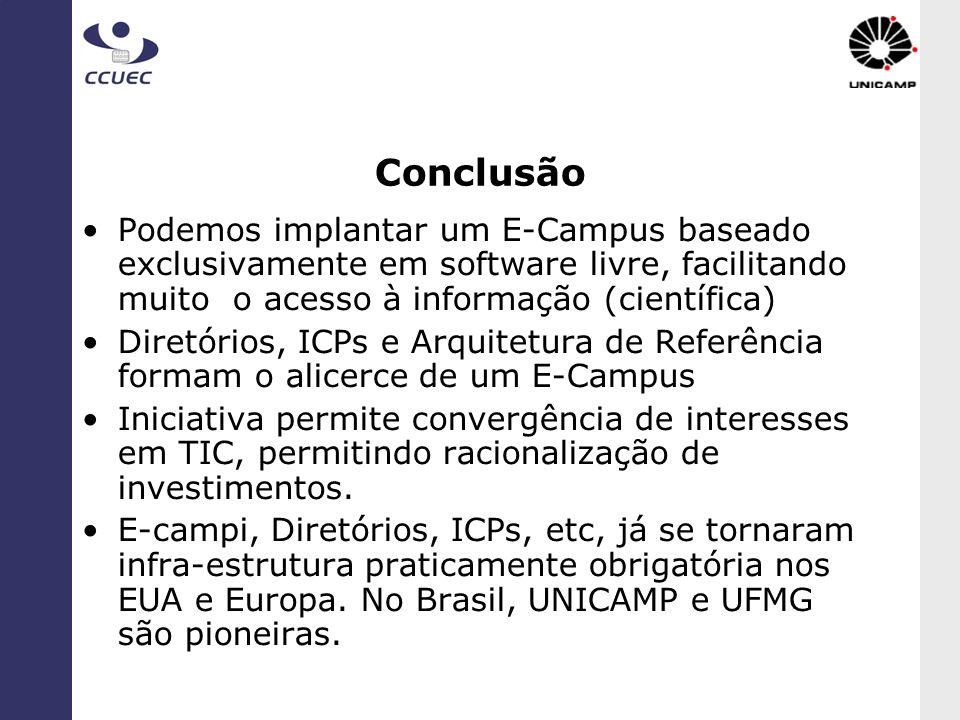Conclusão Podemos implantar um E-Campus baseado exclusivamente em software livre, facilitando muito o acesso à informação (científica) Diretórios, ICP