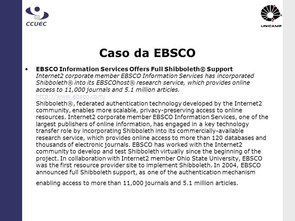Caso da EBSCO EBSCO Information Services Offers Full Shibboleth® Support Internet2 corporate member EBSCO Information Services has incorporated Shibbo