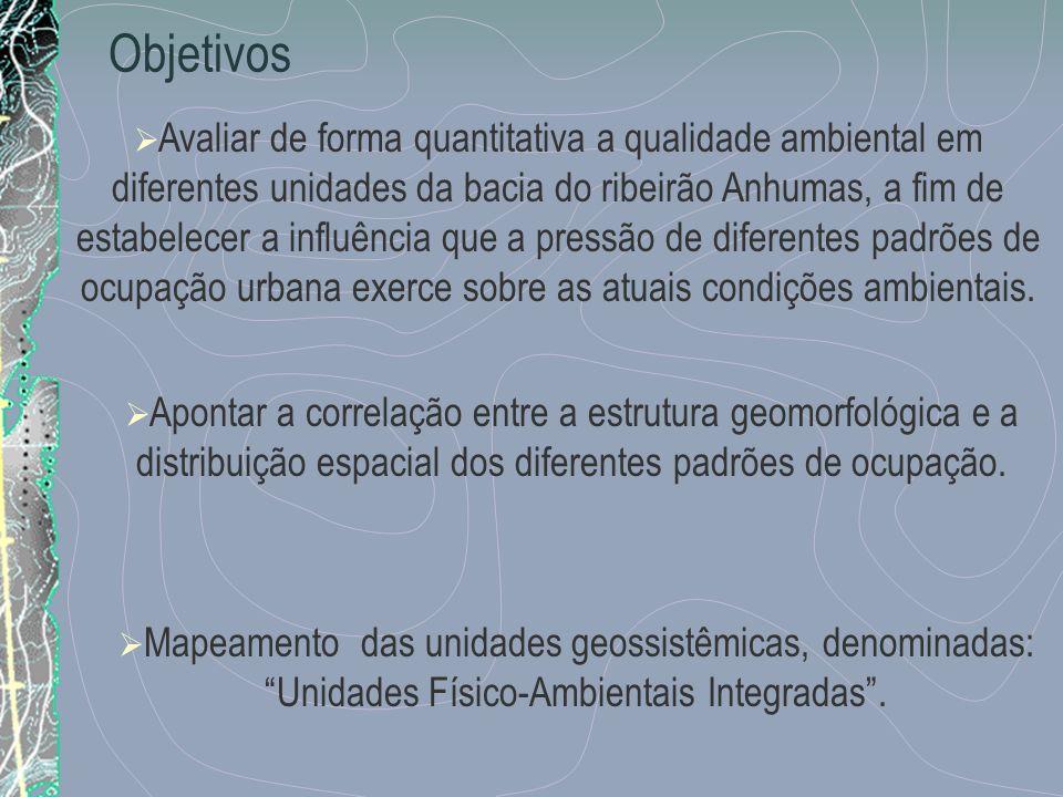 Objetivos Avaliar de forma quantitativa a qualidade ambiental em diferentes unidades da bacia do ribeirão Anhumas, a fim de estabelecer a influência q