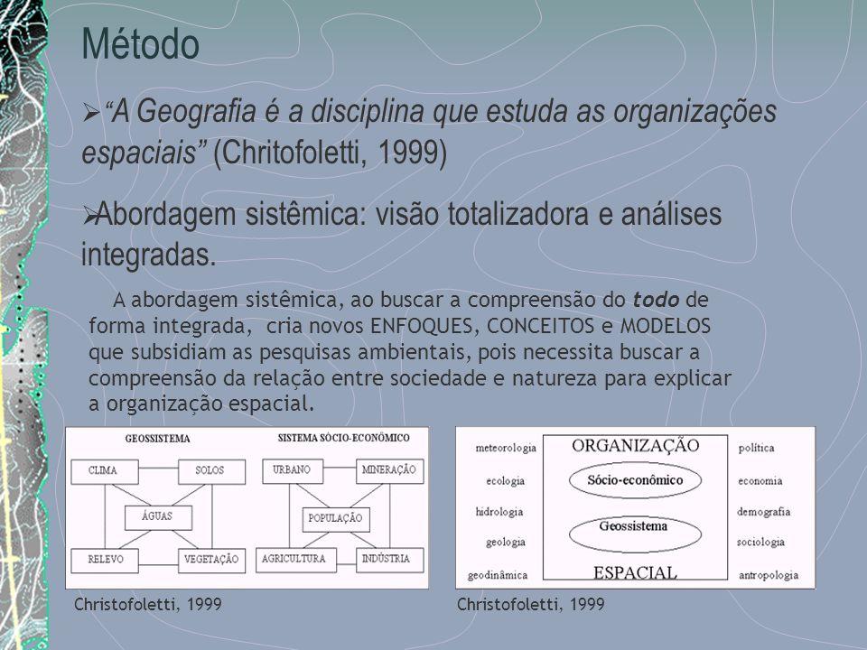 Método A Geografia é a disciplina que estuda as organizações espaciais (Chritofoletti, 1999) Christofoletti, 1999 A abordagem sistêmica, ao buscar a c