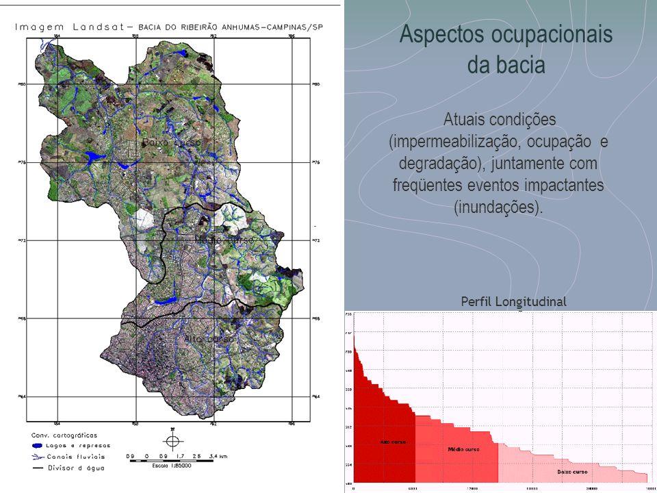 Aspectos ocupacionais da bacia Atuais condições (impermeabilização, ocupação e degradação), juntamente com freqüentes eventos impactantes (inundações)