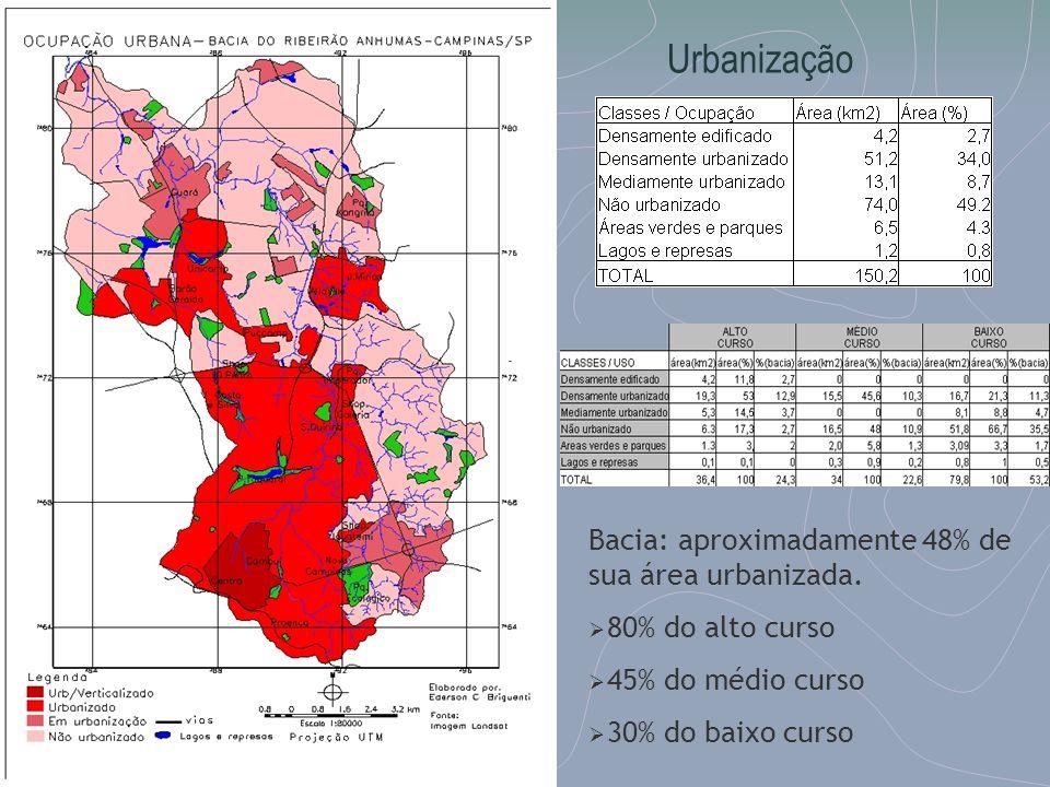 Bacia: aproximadamente 48% de sua área urbanizada. 80% do alto curso 45% do médio curso 30% do baixo curso Urbanização